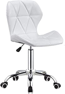 ZHJBD Furniture Stool Chair with Wheels Adjustable Home Office Desk Chairs Leather Living Room Chairs Computer Chair Back Support Swivel Chairs White