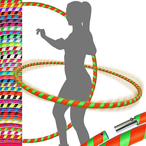 PRO Hula Hoops Reifen für Anfänger und Profis (Ultra-Grip) Faltbarer TRAVEL Hula Hoop ideal für Hoop Dance, Fitness Training, Zirkus, Festivals & Fun! - Größe 100cm/25mm∅, Gewicht 650g (Orange/Grun)