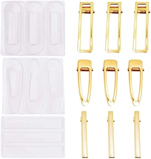 12Pcs Resin Molds DIY Hair Pin Casting Mold Set Kit,Hair Clip Mould Strip Silicone Molds Jewelry Molds for Epoxy Resin Hair Pin,Keychain, Bookmark, Pendant (Hair Clip Mold)