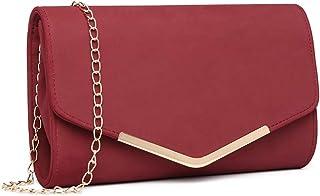 Bolsa de Cadena Mujer Elegante Clutch Carteras de Mano Bandolera Sintético Pequeñas Monedero (Rojo)