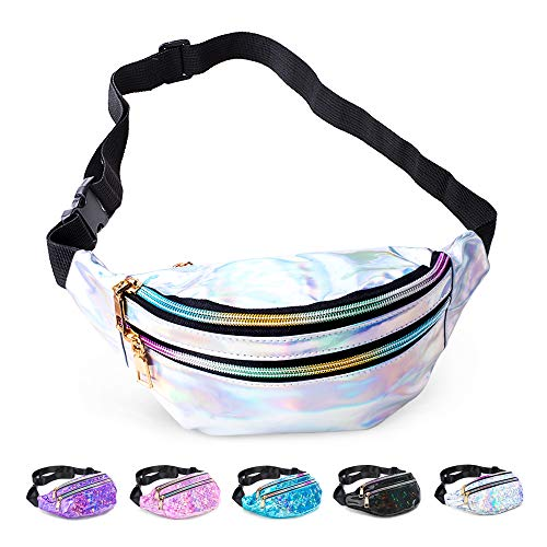 Fanny Pack Belt Bag, Holographic Fanny Packs for Women Men Kids, Fashion Waterproof Waist Pack with 3 Pouches Adjustable Strap, Shiny Casual Bags Cute Bum Bag (Shiny Silver - 01)