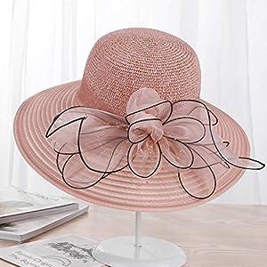TWDYC Summer Ladies Hat Leisure Beach Women Sun Hat Elegant Wide Brim Hat Silk Flower Bucket Hat Casual Cap Female Fedora (Color : D)