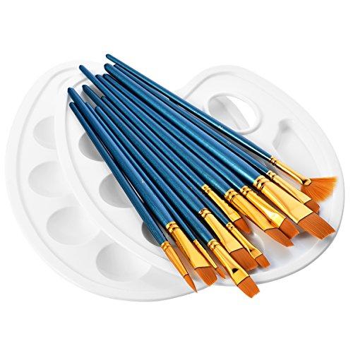 ATMOKO 12 Künstlerpinsel, 2 Mischpalette, Premium Nylon Aquarell, Acryl & Ölgemälde usw. Perfektes Pinsel Set für Anfänger, Kinder, Künstler und Gemälde Liebhaber, Blau, 4 Side Belts