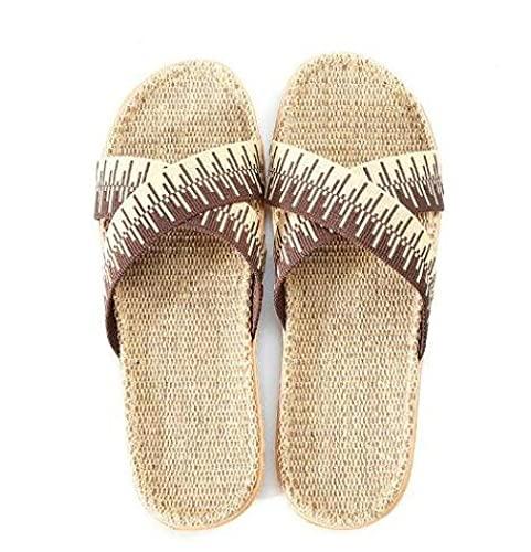Zapatillas Casa Chanclas Sandalias Chanclas De Lino para Exteriores para Hombre, Zapatillas De Lino para El Hogar, Sandalias Planas Amarillas, Diapositivas para Hombre, Zapatos Casuales De Rayas