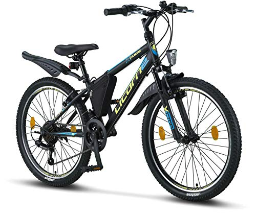 Licorne Bike Premium Mountain Bike Bicycle for Girls, Boys, Men and Women - Shimano 21 Speed Gear - Guide, 24