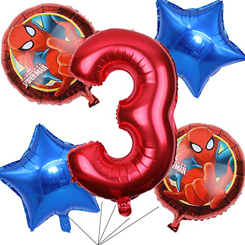 BCD-PRO Superhero Spiderman Balloons Bouquet 3rd Birthday 5 pcs - Party Supplies - Ribbons included