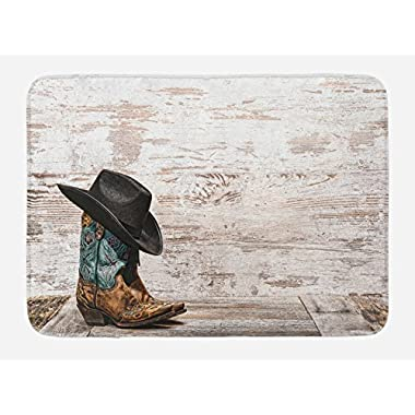 Ambesonne Western Bath Mat, Traditional Rodeo Cowboy Hat and Cowgirl Boots Retro Grunge Background Art Photo, Plush Bathroom Decor Mat with Non Slip Backing, 29.5 W X 17.5 W Inches, Brown Black