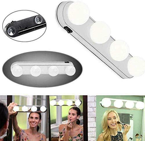 Spiegelleuchte, 33 x 6 x 6,5 cm, Weiß, 4 LED-Lampen für Schminktisch, Schminktisch, Salons | Kosmetiktisch-Zubehör