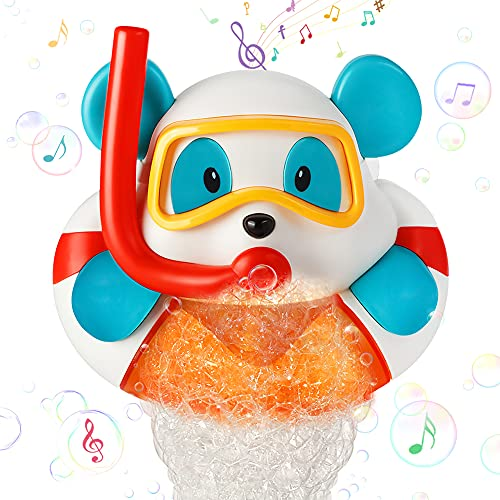 Sinoeem Baby Bath Bubble Toys,Cute bear Bubble Bath Toy Bubble Machine for Bathtub Boys & Girls Bath Toys, Best Bath Toy Gifts for Toddlers1 2 3+ Year old Kids and Toddler