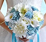 Abbie Home Real Touch Calla Lily Dahlia Bridal Bouquets Crystal Light Blue Ribbon Beach Wedding Rose Flowers Décor (B Round Bouquet)