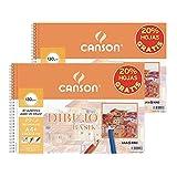 Canson - 2 Álbumes Espiral Microperforados A4 de 20 hojasDibujo Basik Recuadro, 130 g