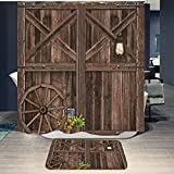 """Rustic Barn Door Shower Curtain Sets with Non-Slip Rug Set Farmhouse Country Western Wooden Saloon Shower Curtain and Mats 72""""x72"""" (Barn Door)"""