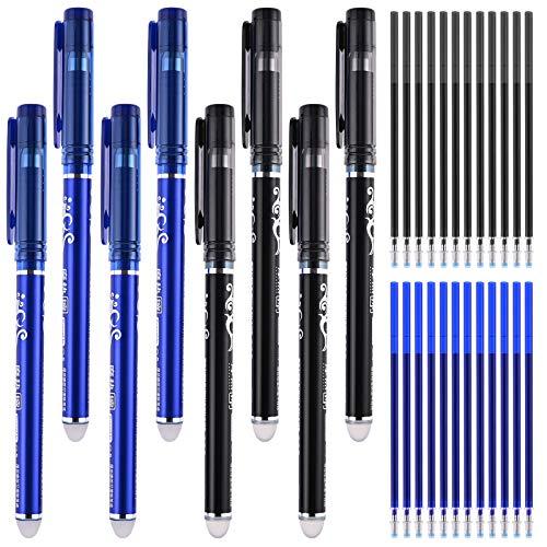 GOLDGE 8 PCS Penna Cancellabile + 8 PCS Refill Cancellabile, Penna Roller a Inchiostro Gel Cancellabile Punta da 0,5 mm, Colori Assortiti