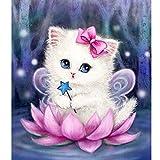 PLMNK Diamond Drawing Kitten Diy 3D Diamond Embroidery Cartoon Magic Cat Set Mosaico Con Incrustaciones De Regalo Diamante Cuadrado, 30X30Cm