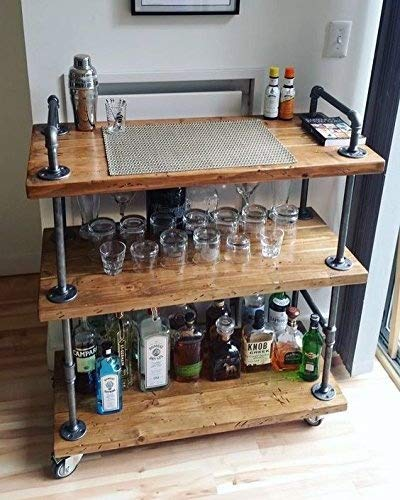 WGX Design For You Wood and Metal Wine Rack with Wheels Kicthen Bar Dining Room Tea Wine Holder...