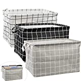 2 cestas de almacenamiento de lona rectangulares, plegables con asas, caja de almacenamiento de ropa impermeable para guardería, hogar, armario, oficina, estante y cesta de juguete (38 x 25 x 23 cm)