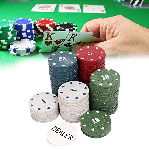 ZJchao Set di gettoni da grammo Professionale 100 gettoni da Poker +1 gettoniera Carta da Gioco Famiglia gettoni digitali educativi gettoni da Poker