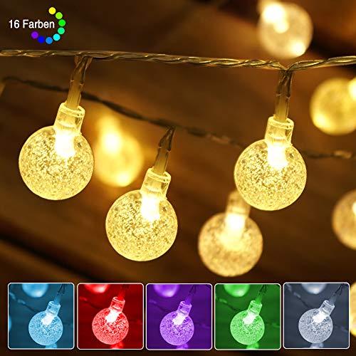 LED Lichterkette Außen Batterie & USB betrieben, Wasserdicht Kristall LED Kugel Lichterkette Bunt, 16 Farben & Timer & Merk Funktion, Partybeleuchtung für Halloween Garten Schlafzimmer Kinderzimmer