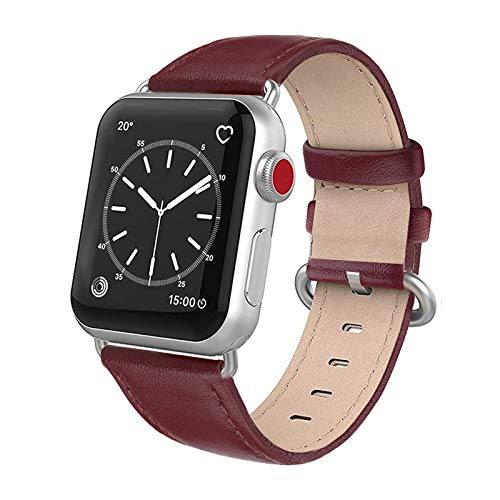 SWEES Leather Band Compatible for iWatch 38mm 40mm, Genuine Leather Replacement Strap Rose Gold Buckle Compatible iWatch Series 6 5 4 3 2 1 Sports & Edition Women, Wine Red