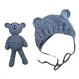 sunnymi Neugeborene Fotoshooting Kostüm Baby Häkel Hut Mütze mit Bär (Grau, 0-6 Monate)