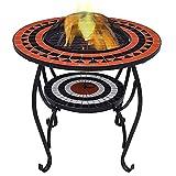 FSFF Feuerstellentisch mit Grillregal, 4 in 2 runde Feuerstelle zum Grillen, Heizung, Eisgrube, Metallkessel für Garten, Camping, Picknick, Lagerfeuer, Garten