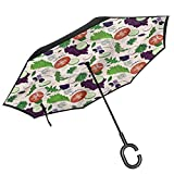 ScottDecor Vegetables Folding Reverse Umbrella Lettuce Dill Onion Salad Upside Down Umbrellas with C-Shaped Handle for Men