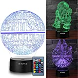3D Star Wars Night Light for Kids Star Wars Gifts Illusion Lamp Three Pattern and 7 Color Change Decor Lamp - Perfect for Star Wars Fans and Kids