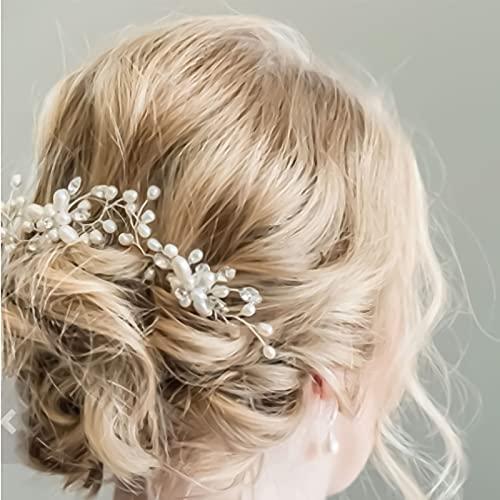 50cm Diadema Novia Boda,Tocados de Pelo Novia Diadema Cristal con Perlas Bridal Hair Vine Joyas para el Cabello, Adornos para el Pelo Tocado Plata Novias Accesorios para Boda Fiesta Velada niñas
