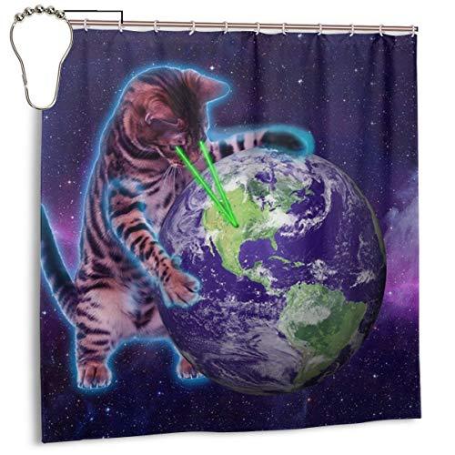 Xqqr Bad-Duschvorhang-Sets Space Laser Eye Cat zerstört die Welt Badezimmer-Dekor mit Haken, wasserdicht, waschbar, 182,9 x 182,9 cm, Eisen, Stahl, 72 X 72 Inch