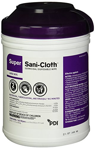 PDIQ55172 Professional Disposables Surface Disinfectant Super SaniCloth Wipes 160 Count  Purple