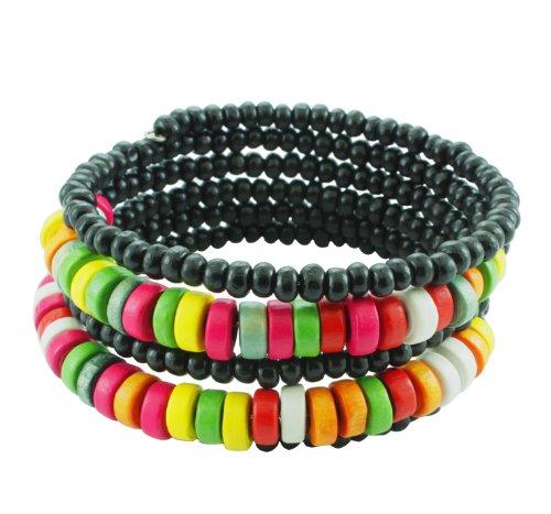 Chic-Net Holzarmreif schwarz bunt Armreif Holzarmband Armband Holz Spirale auf Draht Damen Holzperlen