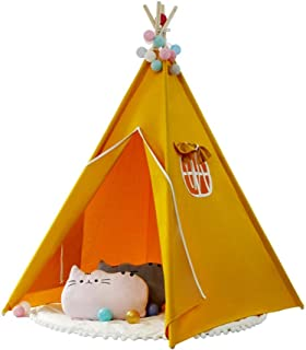 Baby tipi tält barn fotografi indisk lekhus tält vikbar bomull kanvas orange tipi tält med matta för flickor pojkar spädba...