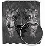 Flyerer Wolf Shower stall Liner Abstract Skull Figure Canine Decorative Bathroom W48xL70Inch