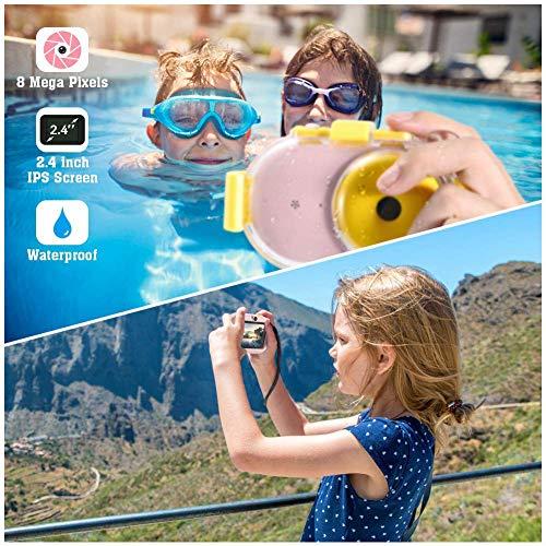 TOYSBBS 1080P HD Wiederaufladbare Mini-Kamera Kinder Digitalkamera, 2,8 Zoll LCD 8MP Kinderkamera Wasserdicht Spielzeug Sportkamera Camcorder mit 32GB MicroSD für Indoor Outdoor,Rosa