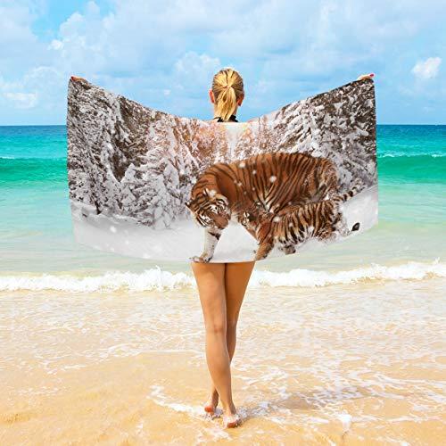 Ahomy Mikrofaser-Strandtücher für Winter, Schnee, Sonnenlicht, Wald, Tiger, großes Reisehandtuch – ultra saugfähig, schnell trocknend, für Männer, Frauen und Kinder