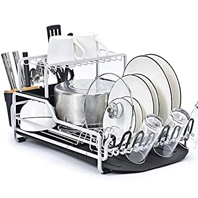 KINGRACK Dish Rack, 2-Tier XXL Aluminum Dish Drying Rack with Drain board, Customizable Dish Holder Set with Removable Top Shelf, Cutlery Holder & Cup Holder, Large Capacity Dish Rack for Kitchen from Toolf