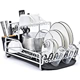 KINGRACK Dish Rack, 2-Tier XXL Aluminum Dish Drying Rack with Drain board, Customizable Dish Holder...