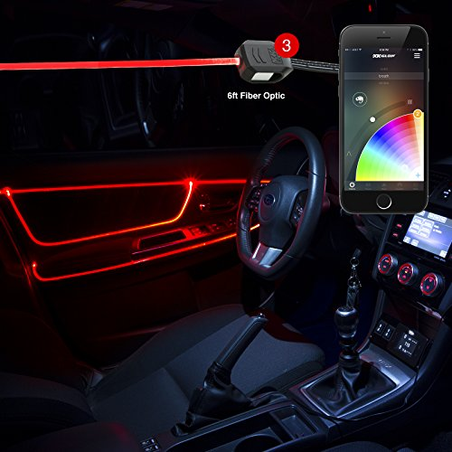 3pc LED Head 6ft Fiber Optic Roll Light Kit XKchrome App Controlled Bluetooth Enabled Automotive Car Truck Dash Door Interior Architectural Home Indoor Accent Flexible w/Mounting Tab 5V Standard