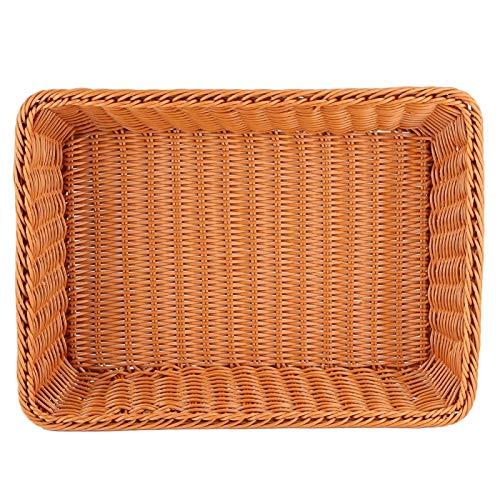 Cesta de pan Rectangular de tejido marrón Cesta de almacenamiento de alimentos Cesta de frutas Cesta de servicio de mesa para buffet Panadería Hogar Restaurante Supermercado(L)