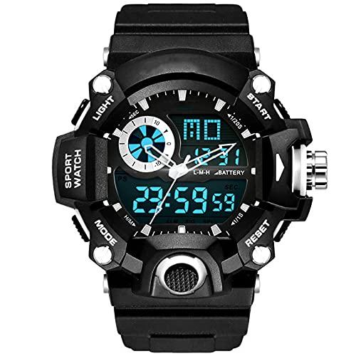Ver Deporte LED Cronómetro Mens Relojes Deportivos Militares Classic Strapewatch Gran dial electrónico 50m Reloj Digital Impermeable para Hombre con Grandes White