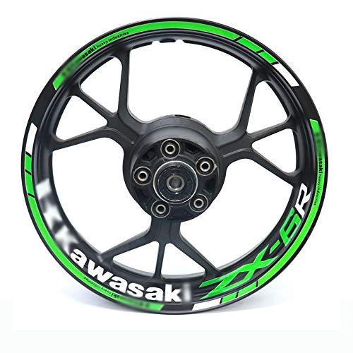 Per Kawasaki ZX-6R ZX6R Moto Riflettente RIM RIM Stripe Adesivo Adesivo anteriore posteriore Decalcomania completa DIY (Color : 15)
