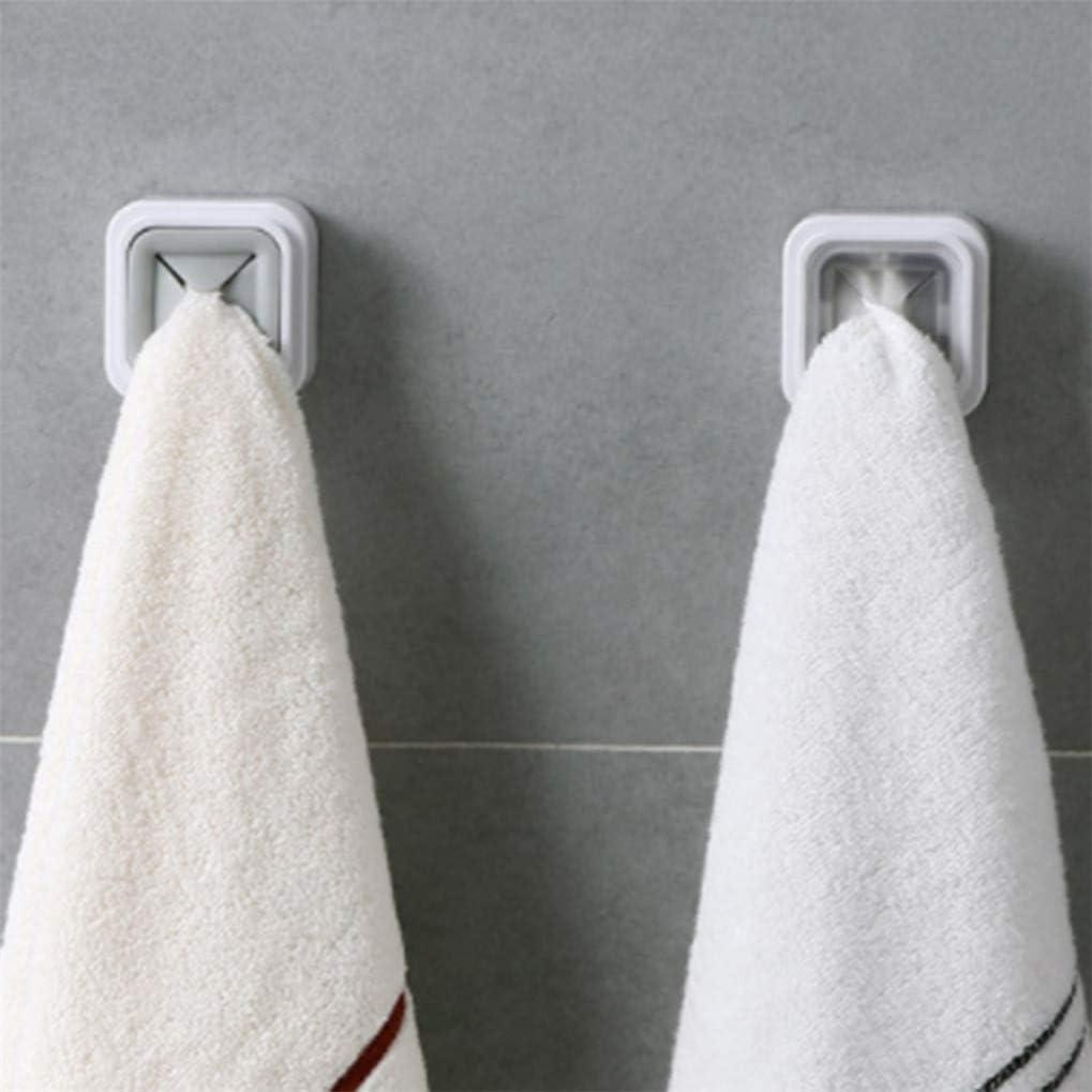 Timesuper Self Adhesive Towel Holder Bathroom Kitchen Wall Hooks Hangers Rack Towel Bath Hooks Clip for Dishcloth Washcloth,gray