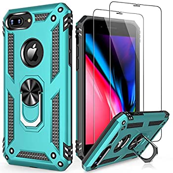 LUMARKE iPhone 8 Plus Case,iPhone 7 Plus Case with Sreen Protector,Pass 16ft Drop Test Military Grade Cover Cover with Kickstand Protective Phone Case for iPhone 8 Plus/7 Plus/6 Plus Turquoise