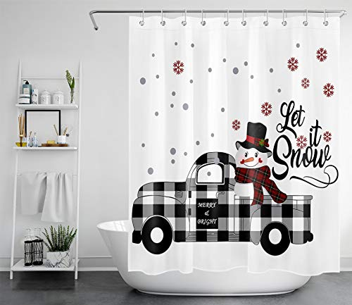 LB Cute Christmas Snowman Shower Curtains for Kids Xmas Snowflakes Snoman on Plaid Truck for Winter Holiday Shower Curtains for Bathroom 60x72 Inch Polyester Fabric with 10 Hooks