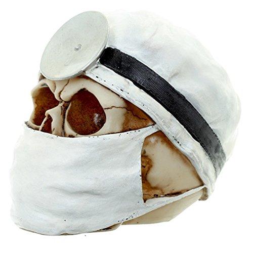 Deko Totenkopf Doktor / Chirurg, 2 Farben zur Auswahl, Maße (H x B x T): 13 x 11 x 16 cm, Material: Polyresin (Kunststein), Totenschädel mit OP-haube und Mundschutz, originelle Wohndeko, Farbe:weiß