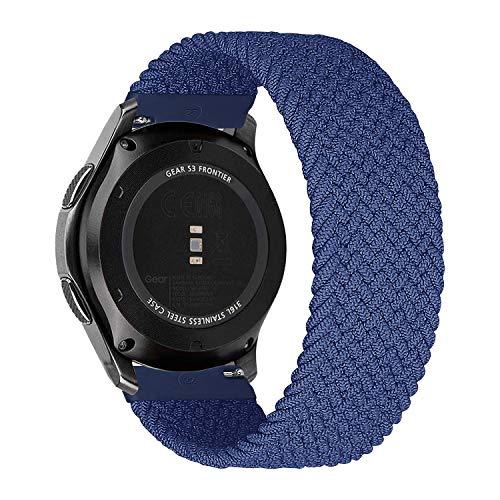 MroTech Compatibile con Huawei Watch GT 2 46 mm GT 2e GT2 PRO Cinturino 22 mm de Ricambio per Samsung Galaxy Watch3 45mm Gear S3 Frontier Galaxy 46mm Solo Loop Sportivo Elastica Nylon Banda-Blu M