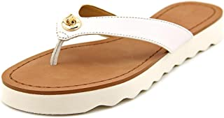 Coach Shelly Semi Matte Calf Chalk White Flip Flop Sandal Thong Women's Shoe