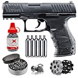 Wearable4U Umarex Walther PPQ .177 Caliber Pellet or BB Semiautomatic Double Action CO2 Air Pistol (2256010) with 5X 12g CO2 Tanks Pack of 500 Pellets and 1500 4.5mm (.177) Steel BBS Bundle