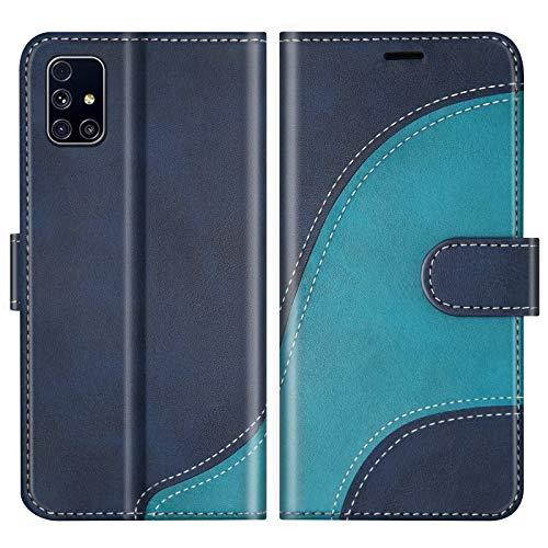 BoxTii Hülle für Galaxy M31S, Leder Handyhülle für Samsung Galaxy M31S, Ledertasche Klapphülle Schutzhülle mit Kartenfächer & Magnetverschluss, Blau