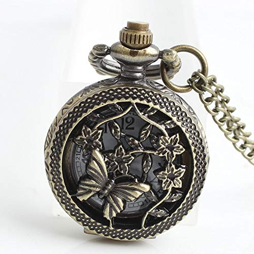 RMYSUM Necklace Pocket Watch Men Women Steampunk Chain Butterfly and Flower Retro Style Roman Numerals Quartz Fob Watch Clock #D